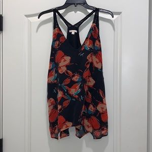 Ella Moss black floral tank size medium